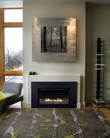 Loft 27 000 Btu Direct Vent Fireplace Insert Shown With Polished Black Decorative Gl And Matte Metal Surround